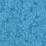 Безшовная картина с покрашенными рукой цветками эскиза Стоковая Фотография RF
