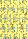 Безшовная картина с покрашенными рыбами. Иллюстрация вектора