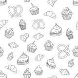 Безшовная картина с помадками, пирогами, пирожными, мороженым, продуктами хлебопекарни также вектор иллюстрации притяжки corel бесплатная иллюстрация