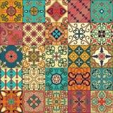 Безшовная картина с португальскими плитками в стиле talavera Azulejo, марокканец, мексиканские орнаменты иллюстрация вектора