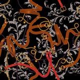 Безшовная картина с поясами, золотыми цепями, и барочными листьями Striped заплата для шарфов, печать, ткань иллюстрация вектора