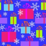 Безшовная картина с подарками и снежинками иллюстрация штока