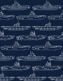Безшовная картина с подводными лодками Стоковое Изображение RF
