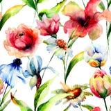 Безшовная картина с полевыми цветками Стоковое фото RF