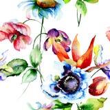 Безшовная картина с полевыми цветками Стоковая Фотография