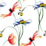 Безшовная картина с полевыми цветками Стоковые Фотографии RF