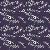 Безшовная картина с & x22; Праздник Shopping& x22; текст Стоковая Фотография RF
