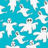 Безшовная картина с привидениями Печать на хеллоуин Стоковая Фотография