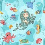 Безшовная картина с принцессой русалки Стоковые Изображения RF