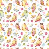 Безшовная картина с птицами акварели красочными смешными, абстрактными элементами и пятнами иллюстрация штока