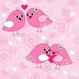 Безшовная картина с птицами в влюбленности иллюстрация штока