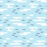 Безшовная картина с птицами и облаками Плоский стиль Стоковые Фотографии RF