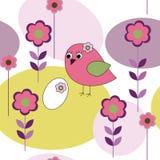 Безшовная картина с птицами и цветками иллюстрация штока