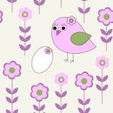 Безшовная картина с птицами и яичками иллюстрация вектора