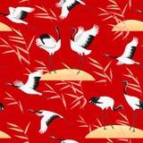 Безшовная картина с птицами и Reed на красном цвете Стоковая Фотография