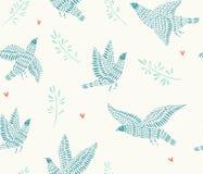 Безшовная картина с птицами иллюстрация вектора
