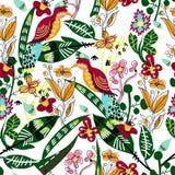Безшовная картина с птицей, листьями и цветками Стоковые Изображения