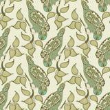 Безшовная картина с птицей и лист Стоковые Фотографии RF