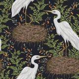 Безшовная картина с птицей цапли, гнездом и заводами болота Флора и фауна болота иллюстрация вектора