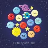 Безшовная картина с планетами Стоковые Изображения RF