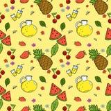 Безшовная картина с плодоовощами и лимонадом лета Стоковое Фото