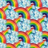 Безшовная картина с радугой и облаками стоковые фотографии rf