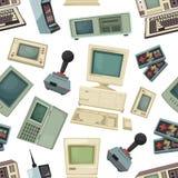 Безшовная картина с различными винтажными компьютерами и устройствами иллюстрация штока