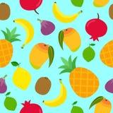 Безшовная картина с различными тропическими плодоовощами на голубой предпосылке иллюстрация вектора
