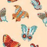 Безшовная картина с различными бабочками Стоковое фото RF