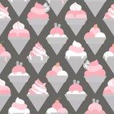 Безшовная картина с различными видами мороженого Стоковые Фото