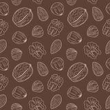Безшовная картина с различными гайками, весь и обстрелянный Грецкие орехи, миндалины, фундуки Смешивание гаек иллюстрация штока
