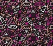 Безшовная картина с различными конфетами контура Стоковые Изображения RF