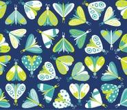Безшовная картина с различными красивыми бабочками Стоковое фото RF