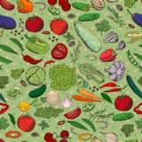 Безшовная картина с различными свежими овощами Стоковая Фотография