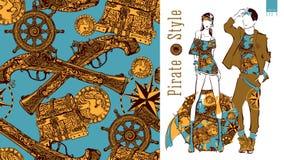 Безшовная картина с различными элементами пирата Стоковые Фото