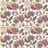 Безшовная картина с райскими птицами Стоковое Изображение RF