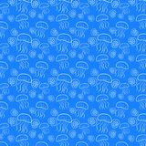 Безшовная картина с раковинами медуз и моря иллюстрация штока