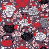 Безшовная картина с ретро баками чая фарфора дизайна  Стоковое Изображение RF