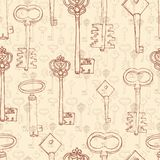 Безшовная картина с ретро ключами Стоковое Фото