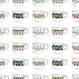 Безшовная картина с рисовать и акварелью чашка Стоковое Изображение RF