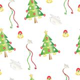 Безшовная картина с рождественскими елками и колоколами - праздничной иллюстрацией темы бесплатная иллюстрация