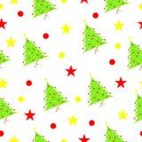 Безшовная картина с рождественской елкой и звездами Стоковое Изображение