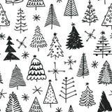 Безшовная картина с рождественской елкой нарисованной рукой Стоковое Фото