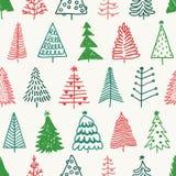 Безшовная картина с рождественской елкой нарисованной рукой Стоковая Фотография RF