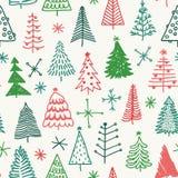 Безшовная картина с рождественской елкой нарисованной рукой Стоковая Фотография