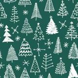 Безшовная картина с рождественской елкой нарисованной рукой Стоковые Фото