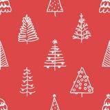 Безшовная картина с рождественской елкой нарисованной рукой Стоковые Изображения RF