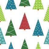 Безшовная картина с рождественской елкой Стоковые Фотографии RF
