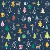 Безшовная картина с рождественской елкой бесплатная иллюстрация