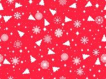 Безшовная картина с рождественскими елками и снежинками замерли крышкой, котор зима вектора картины вектор Стоковые Фото